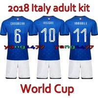 Wholesale italy world cup jerseys - Italia Adult Kits 2018 World Cup Home soccer jersey 17 18 De Rossi Bonucci Verratti Chiellini INSIGNE Belotti Jerseys italy Football shirts