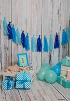 support de photographie de plancher de bois achat en gros de-LIFE MAGIC BOX Fond de mur en bois Photo arrière-plans Blue Birthday Backdrops garçon premier anniversaire photographie accessoires