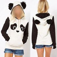 polar panda hoodie toptan satış-Rahat S-3xl Sevimli Pamuk Harmanlanmıştır kadın Panda Polar Kazak Hoodie Tişörtü Kapüşonlu Ceket Sıcak Tops