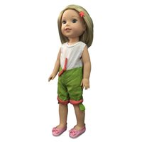 Wholesale american girl dolls clothes - Green Jumpsuits Casual Clothes for 14'' American Girl Wellie Wishers Doll