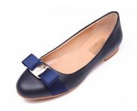 pisos arcos al por mayor-Tamaño grande Pisos de las mujeres más nuevas marca zapatos de ballet de cuero genuino mujer pajarita Diseñador Flats Ladies Zapatos Mujer Sapato Feminino