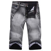 Wholesale denim short pants for men - 2018 Summer Fashion Male Jeans Shorts cotton calf length pants Shorts Jeans For Men Casual Denim Patchwork Thin stretch
