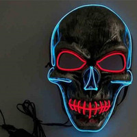 Wholesale party mask led - Halloween Lip Sewing Skull Face Mask LED Cold Light Up Decoration Dancing Party EL Masquerade Masks For Adults Men 18tc WW