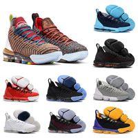 the latest 42522 e5f16 Lebron James 16 Basketball shoes 2018 Regenbogen CNY 16 Schwarz 1 THRU 5 Männer  Basketballschuhe 16s Fashion Schwarz Gold rot Herren Turnschuhe Sport ...