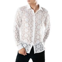 ingrosso strane camicie-Camicia di pizzo bianco da uomo casual di marca Strange Designer Slim Fit manica lunga manica corta Club Club di seta Top Streetwear