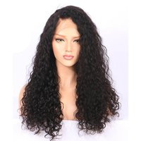 Wholesale unprocessed curly brazilian hair wig online - 150 Lace Front Wigs water curly wave Full Lace Wigs deep Baby Hair Pre plucked Brazilian Bleach Knots Unprocessed Virgin Human Hair
