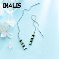 zincir kulak damlaları toptan satış-INALIS Yeni Benzersiz Tasarım Uzun Zincir Kulak Hattı S925 Gümüş Yeşil Taş Ok Dangle Bırak Küpe Kadınlar için Güzel Takı