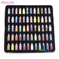 kalp şekilli şişeler toptan satış-Toptan 60 bottles / set 3D Tırnak Sanat Farklı Dekorasyon Glitter Yıldız Kalp şeklinde Pullu Boncuk Havyar Rhinestones Manikür Aracı