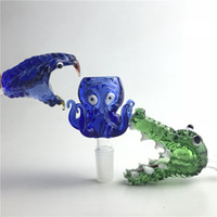 Wholesale snake water pipes for sale - Group buy Colorful Animal Glass Bong Bowl with mm mm Male Thick Pyrex Green Blue Snake Octopus Crocodile Smoking Water Pipes Herb Tobacco Bowls