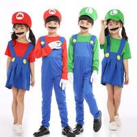 ingrosso vestito dalla barba-Halloween Mario Cosplay Costume 3pcs / lot Vestiti per bambini Boy's tuta + Barba + Gat Girl Dress Barba e Cappello CCA10326 12 set