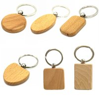 Wholesale acrylic key tags for sale - Group buy Natural Wood keychain DIY Logo Beech Wooden Key Rings DIY Chain Square Round Heart Shape Wood Keyring Tags Gifts Free DHL G199S