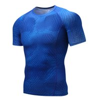 Wholesale compression short soccer - High Quality Quick Dry Running T shirt for Men Short Sleeve Sports Gym Fitness Soccer Training Jersey Jogging Compression Tight Shirt