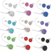 белые шамбалы оптовых-Hot sale!10mm best new hot klhsf Mix color black white Fashion Crystal  Set Pendant necklace studs Earring Jewelry