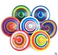 ingrosso mini legno di filatura superiore-All'ingrosso- Classic Wood Gyro Toy Multicolor Mini Cartoon Trottola di legno Toy Apprendimento di giocattoli educativi per i bambini giocattoli di scuola materna al dettaglio