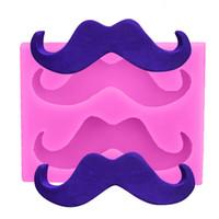 ingrosso sapone muffe natale-1 PZ Mini Cartoon Beard Shape Fondant Mold 3D Moustache Stampo in silicone Torta di Natale Strumenti di decorazione sapone