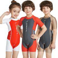 Lycra Short Sleeve Wetsuit Kids One Piece Swimsuit for Boys Girls Diving Bathing Suit Children Swimwear Surfing Rash Guard
