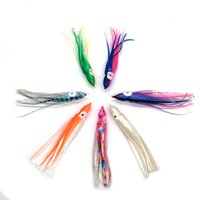 Wholesale Game Fishing Skirts - Free Shipping Fishing Lure 5.5inch 14cm Soft Plastic Octopus Skirt with Eyes Colormix Saltwater Octopus Bait For Fishing