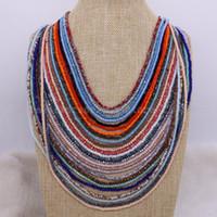 collares de cuentas facetadas al por mayor-Collar de perlas de vidrio estilo africano de 10 piezas Collar de perlas de vidrio facetado Elegiremos colores de mezcla para usted