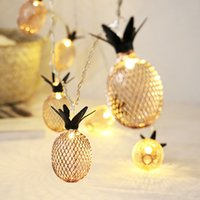 ingrosso batterie di bronzo-oobest Vintage Bronze Color LED Lanterna String Lights Mesh Ananas Alimentato a batteria Decorazioni natalizie Camera da letto impermeabile