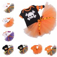 Wholesale pumpkin tutu - 3PC Baby Girl Pumpkin Romper Bodysuit Tutu Skirt Dress Headband Halloween Outfit pumpkin Skull print romper Tutu skirts KKA5662