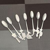 conjunto de herramientas instrumento al por mayor-Eco Friendly 7pcs / Set de acero inoxidable modelo musical instrumento Nota café cocina de la herramienta -Spoon té Cuchara único sopa -Spoon