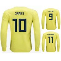 Wholesale Men Shits - Long Sleeve 2018 Colombia Soccer Jersey Colombia Home Football Jersey James Falcao Cuadrado BACCA World Cup Full Sleeve Football Shit