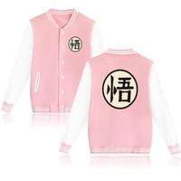 Wholesale jacket hoodie anime character - Anime Dragon Ball Z Baseball Uniform Jacket Coat Men Women Goku Harajuku Sweatshirts Winter Fashion Hip Hop Pink Hoodie Outwear