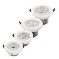 luzes de teto com leds reguláveis venda por atacado-Branco / Prata Dimmable 9 W 12 W 15 W 21 W Conduziu Para Baixo Luzes de Alta Potência Led Downlights Recesso Teto luzes CRI85 AC 110-240 V iluminação led