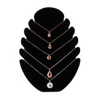 rack de jóias para colares venda por atacado-Novo Colar de Jóias De Veludo Suporte Cadeia Titular Bandeja Organizador Mostrar Display Rack de Jóias Acessórios display8