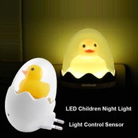 Wholesale wall socket lamp for sale - Group buy US EU Plug Wall Socket Lamps LED Night Light AC V Light Control Sensor Yellow Duck Bedroom Lamp Gift for Children Cute H276