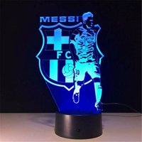 Wholesale Wholesale Football Lamps - Hot 3D Illusion Lamp LED Light 7 RGB Lights DC 5V USB Powered AA Battery Powered Wholesale football European Club Association
