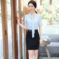 Wholesale working clothes styles for women - EleUniform Styles Formal 2 Pieces Blouses And Skirt For Women Business Work Wear Clothing Sets Plus Size Spring Fall