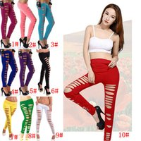 Wholesale leggings color candy stretch - 10 Colors Women Girls Skinny Ripped Pants Stretch Slim Pencil Trousers Leggings Clubwear Candy Color Cut Out Slim Hole Pants AAA243