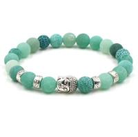 jóias de buda para mulheres venda por atacado-Jóias designer de cabeça de buddha pulseiras de pedra natural ágata corda elástica frisada 8mm pulseiras para mulheres homens