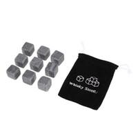 whisky cubitos de hielo rocas al por mayor-Piedras naturales 9 unids / lote Whiskey Stones Cooler Rock Soapstone Ice Cube Con Velvet Storage Pouch GGA453 120 lot