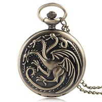 Wholesale women game thrones for sale - Wholesales Antique Game of Thrones Bronze House Targaryen Quartz Pocket Watch Retro Necklace Gift for Men Women New Arrival