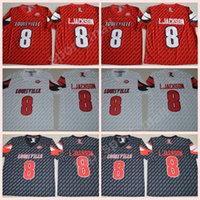 Wholesale footballs johnson - NCAA College 8 Lamar Johnson Jersey Men Football Louisville Cardinals Jerseys ACC University Stitched Red Black White High Sale Size S-XXXL