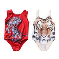 Wholesale animal one piece swimsuit - Girls Tiger Swimwear One-pieces Tiger Swimsuit Floral Printing Swim Clothing Summer Tiger Head Kids Beach Cloth 1-6T