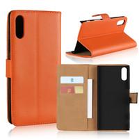 cubiertas del tirón de xperia al por mayor-Caja del teléfono de la carpeta del tirón de lujo para Sony Xperia Z5 Z4 Z3 Z2 XZ1 XZ2 cubierta del teléfono del tirón del cuero premium compacto