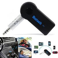 bluetooth para auto al por mayor-Bluetooth AUX Mini Receptor de Audio Bluetooth Transmisor 3.5mm Jack Manos Libres Auto Bluetooth Car Kit Adaptador de Música