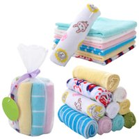 mendil bebek bezi toptan satış-Bebek yüz havlusu pamuk bebek mendil yumuşak yenidoğan bebek lif mendil hassas cilt duş havlu paketi için 8 hediye