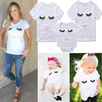 Wholesale mother baby girl clothes - Mom Daughter Matching Outfits Eyelash Printed Women Mother Kids T-shirt Baby Girl Rompers Summer Short Sleeve Bodysuit T Shirts Clothes