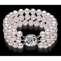 """8-9 mm Naturel Rond South Sea Véritable perle blanche Bracelet 7.5/"""""""