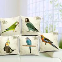 almohadas de loro al por mayor-Estilo vintage decorativa Throw Pillows Case Parrot Bird algodón de lino funda de cojín para sofá hogar funda de almohada Funda Cojines