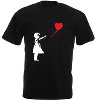 ingrosso camicia a maniche corte-Maglietta girocollo a maniche corte estiva in cotone nero Maglietta girocollo stampata a banana Banksy Balloon Girl Banksy