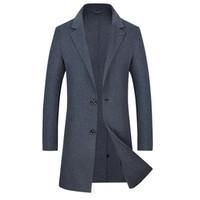 chaquetas largas de la caída del estilo al por mayor-nueva alta calidad de otoño e invierno nueva moda casual casual de lujo delgado 100% abrigo de lana / cuello largo traje de lana de los hombres