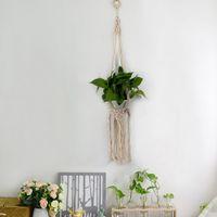 ingrosso piante da giardino decorazione-Macrame Corda Hanger Garden Flower Pot Holder Hanging Basket Decoration Vendita calda di alta qualità moderna semplice Freeshipping