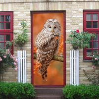 papel de parede da árvore da coruja venda por atacado-Pássaro coruja dos desenhos animados porta da árvore adesivos de arte decoração crianças crianças quarto do bebê sala de estar decoração de papel de parede criativo decalque para casa diy decoração