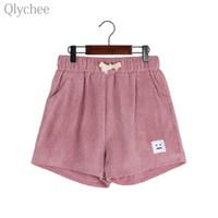 calções de patchwork de veludo venda por atacado-Qlychee casual mulheres shorts de veludo dos desenhos animados rosto patchwork padrão engraçado feminino shorts de verão solto senhora