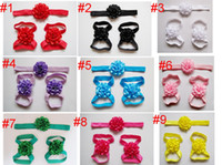 Wholesale baby foot sandals flower online - 2018 New Hot Selling Kids Baby Solid Flower Sandals Footwear Barefoot Newborn Girls Footwear for Babies Foot Accessories Headband Set